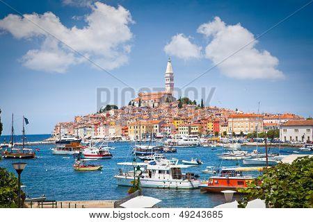 Panoramic view on old town Rovinj from harbor. Istria peninsula, Croatia