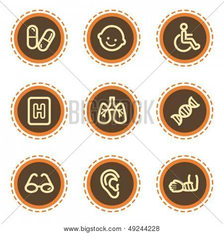 Medicine web icons set 2, vintage buttons