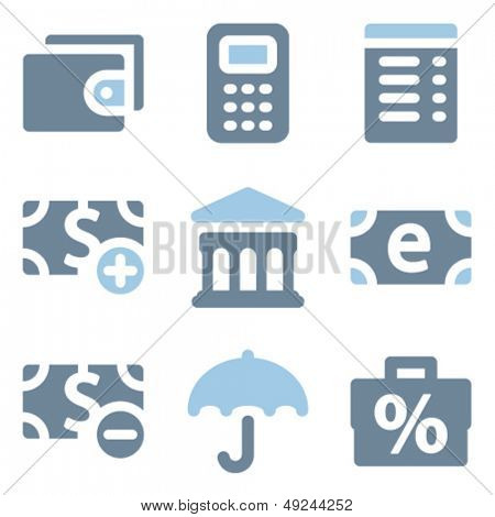 Finance icons set 2, blue solid series