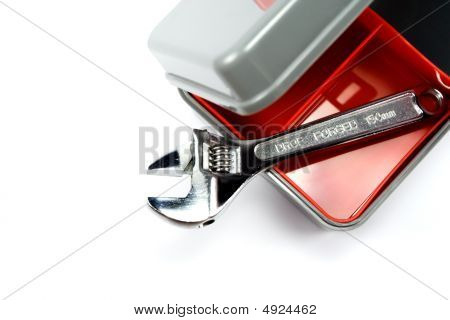 Tool Box With Adjustable Wrench
