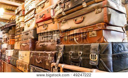 Pile of old vintage bag suitcases