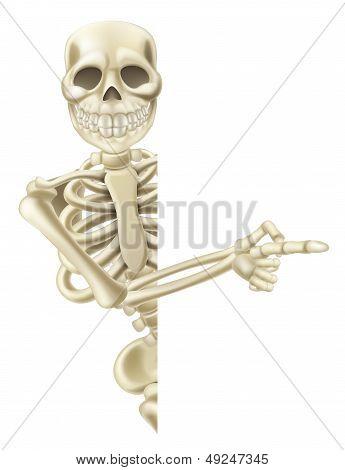 Pointing Cartoon Halloween Skeleton