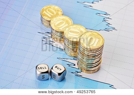 Dices Cubes With The Words Sell Buy, Uptrend Stacks Of Golden Coins And Fiinancial Chart As Backgrou
