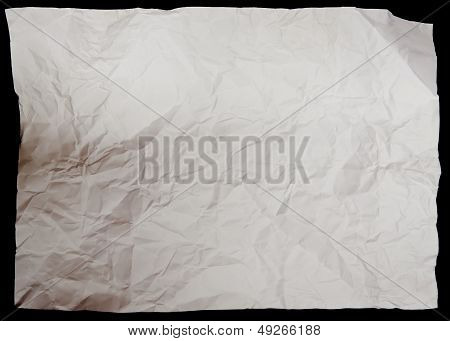 White Crumpled Paper On Black Background Texture