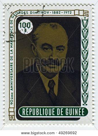 GUINEA - CIRCA 1972: A stamp printed in Guinea shows image of the Georgi Dimitrov Mikhaylov, also known as Georgi Mikhaylovich Dimitrov  was a Bulgarian Communist politician, circa 1972.