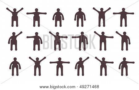 People Minimalistic Icons Set. Symbols Of Standing Bodily Movements