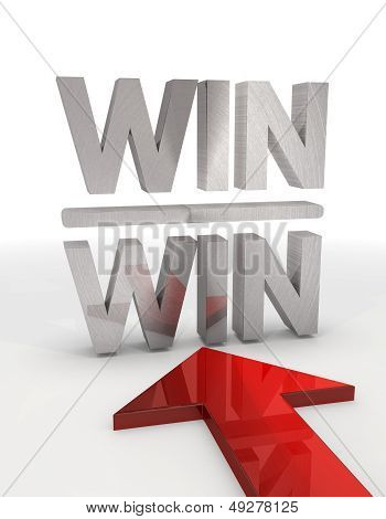 3D Graphic Of A Decorative Win Win Icon With Red Arrow