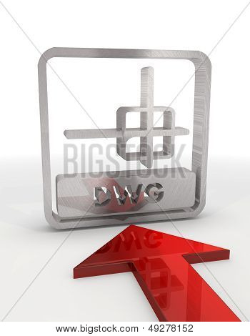 3D Render Of A Decorative Dwg File Symbol With Red Arrow