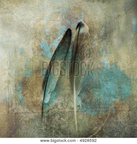 poster of Two feathers close together in relationship. Photo based illustration.