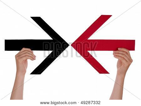 Hands Holding Two Arrows