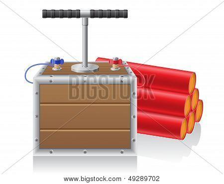 Detonating Fuse And Dynanite Vector Illustration