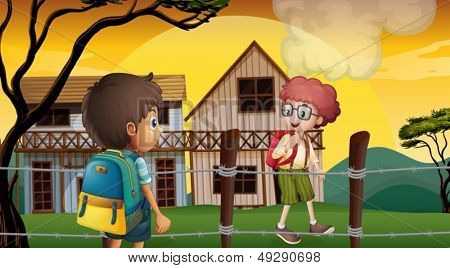 Illustration of the two students talking near the barbwire fence