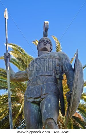 Large scale Achilles statue at Corfu, Greece poster