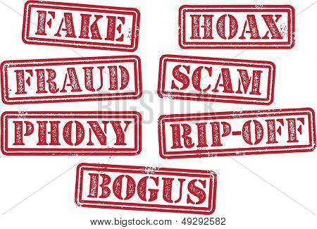 Fake, Fraud, Scam, Hoax, Rubber Stamps