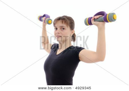 Young Woman With Barbells