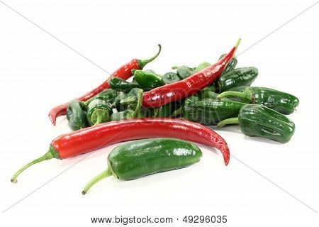 Green Pimientos With Hot Peppers