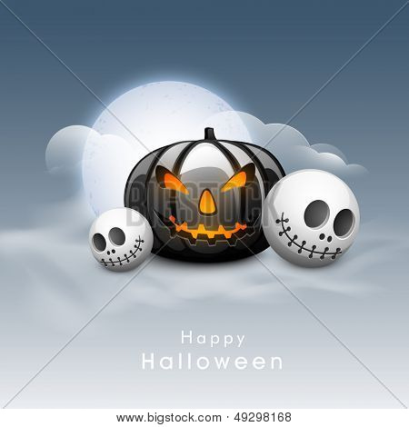 Scary Halloween Pumpkin with skull in moonlight sky background. Can be use as poster, flyer or banner for Halloween Party.