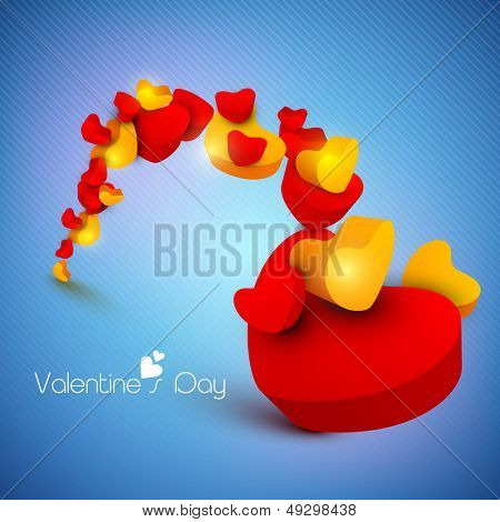 3D colorful hearts on shiny blue background for Valentines Day.