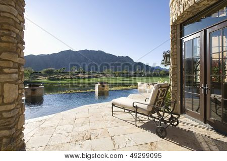 Sunlounger with view of mountains in Riverside County; California