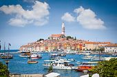 Panoramic view on old town Rovinj from harbor. Istria peninsula, Croatia poster