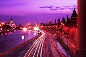 Moscow Kremlin at Night trafic, close up poster