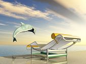 Computer generated 3D illustration with Jumping Dolphin and Deck Chair at sunset poster