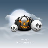 Scary Halloween Pumpkin with skull in moonlight sky background. Can be use as poster, flyer or banner for Halloween Party.  poster