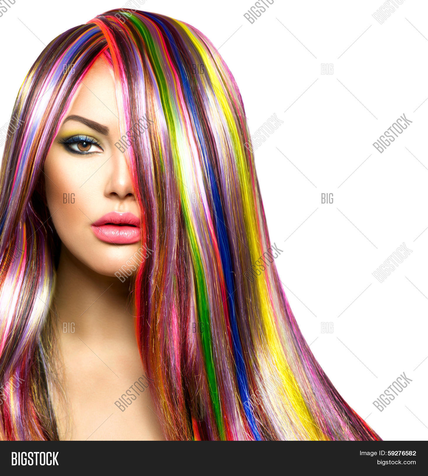 Colorful Hair Makeup Image Photo Free Trial Bigstock