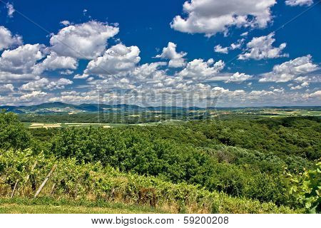 Beautiful Green Scenery Landscape Under Cloudy Sky