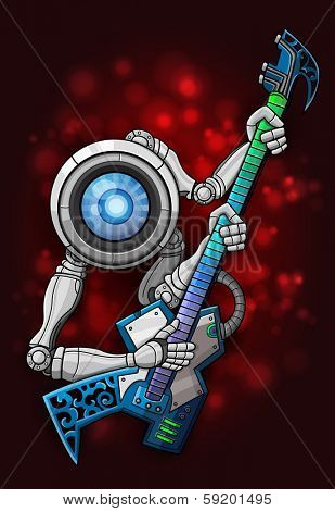 White robot with guitar. Vector illustration