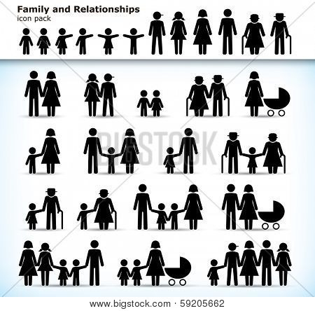 Editable set of family pictograms with children, parents and grandparents - raster version of vector illustration