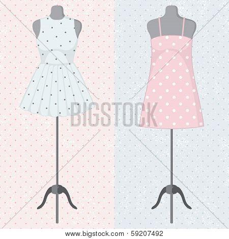 Different vintage dresses on a mannequin. Vector