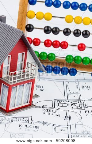 house, abacus, plan, symbol photo for house construction, financing, building society poster