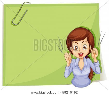 Illustration of a talkative woman in front of an empty signage with a clip on a white background