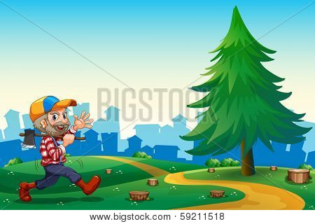 Illustration of a woodman walking while carrying an axe at the hilltop
