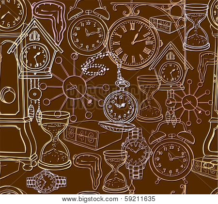 Seamless pattern with clock