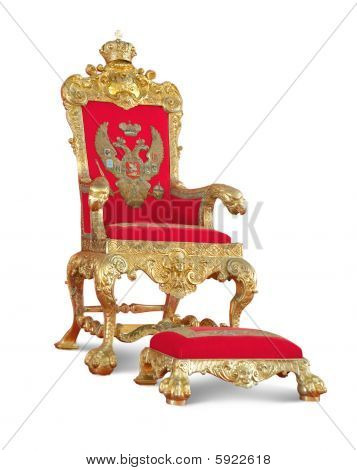Golden Royalty's Throne. Isolated On White With Clipping Path