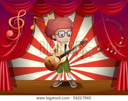 Illustration of a young boy at the stage holding a guitar