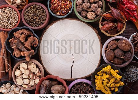 Large Set Of Spices And Seasonings