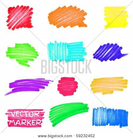 Set of vector colored marker spots for your design poster