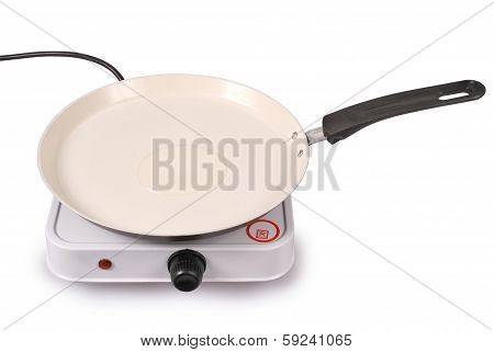 Electric Portable Hotplate With Ceramic Frying Pan (clipping Path)
