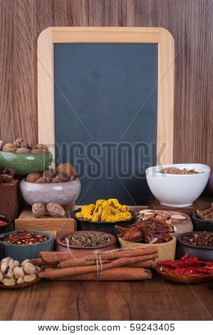 Large Set Of Spices, Seasonings And Salt