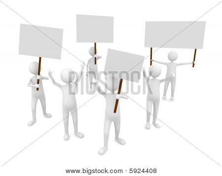 Protestation with posters