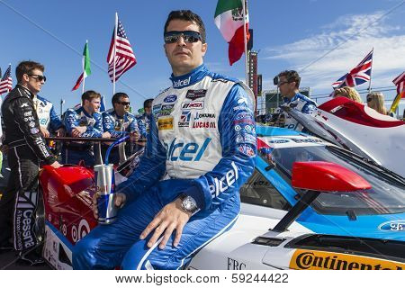 Daytona Beach, FL - Jan 25, 2014:  Memo Rojas waits for the start of the Rolex 24 at Daytona at Daytona International Speedway in Daytona Beach, FL.
