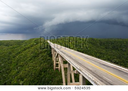 Tall Bridge In A Stormy Weather