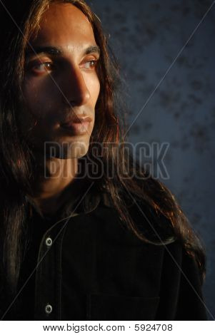 Long haired Latino man