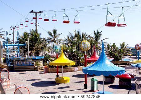 Colorful Amusement Park On Beachfront In Durban