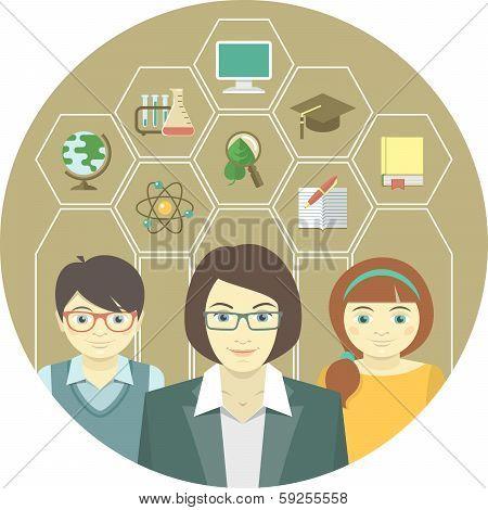 Woman Teacher And Pupils