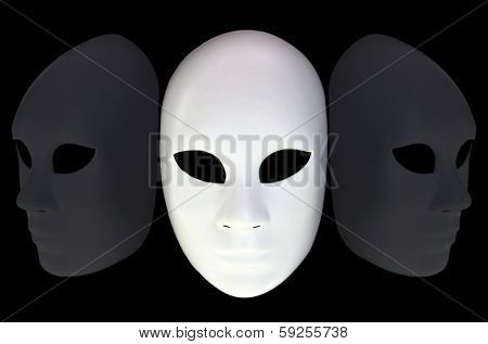 White mask with reflection on black background