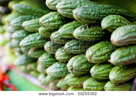 Bitter Melon (momordica Charantia) Fruit At Asian Market